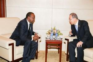 H.E. Uhuru Kenyatta with U.N. Secretary General Ban Ki-Moon.